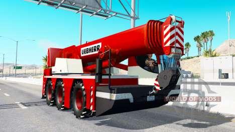 Grúa móvil Liebherr en el tráfico v2.0 para American Truck Simulator