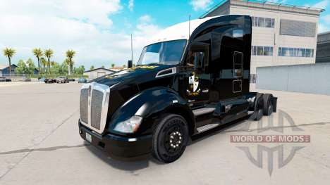 Piel negra Port Vale en un Kenworth tractor para American Truck Simulator
