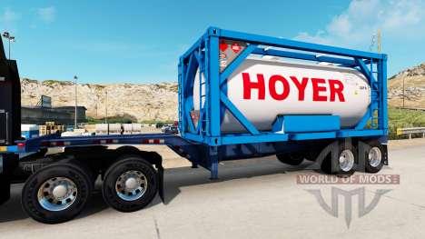 El semirremolque-el contenedor de camión con tan para American Truck Simulator