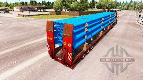 Baja de barrido con un cargamento de tubos para American Truck Simulator