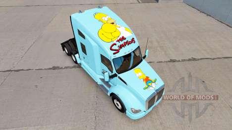 La piel de Los Simpsons en un Kenworth tractor para American Truck Simulator