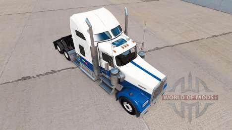 La piel Azul-blanco-camiones Kenworth W900 para American Truck Simulator