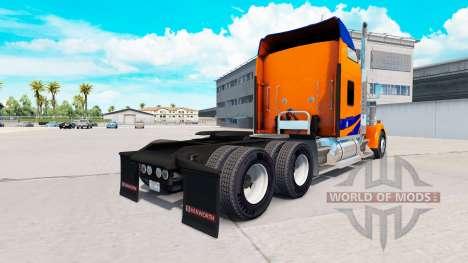 Скин Azul Rayas en Naranja на Kenworth W900 para American Truck Simulator