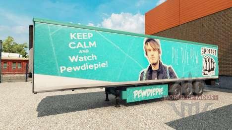 La piel PewDiePie en el remolque para Euro Truck Simulator 2