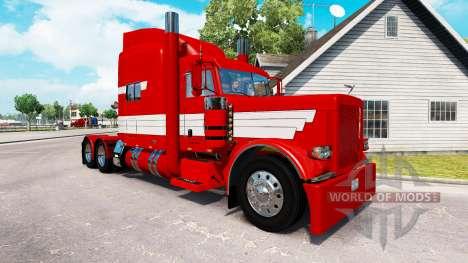 Скин Rayas Blancas en Pintura Roja на Peterbilt  para American Truck Simulator