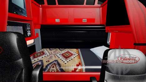 El interior es de color Rojo y Negro Peterbilt 3 para American Truck Simulator