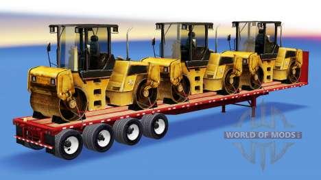 El semirremolque-sitio con el equipo de construc para American Truck Simulator