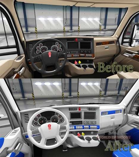 El interior es de color Blanco y Azul para Kenwo para American Truck Simulator