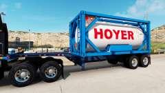 El semirremolque-el contenedor de camión con tan