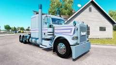 Piel blanco-Azul de las franjas por el camión Pe