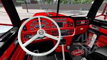El interior es de color Rojo y Negro Peterbilt 389 para American Truck Simulator