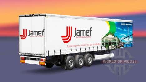 La piel Jamef Logística remolque en una cortina para Euro Truck Simulator 2