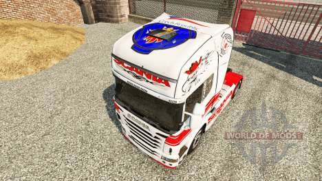 Piel Blanco-rojo sobre un tractor Scania para Euro Truck Simulator 2