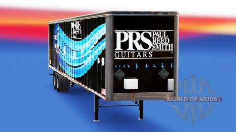 La piel de PRS Guitars en el remolque para American Truck Simulator