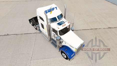 Скин Swift Transporte v1.1 на Kenworth W900 para American Truck Simulator
