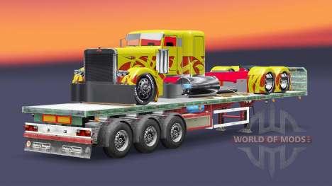 El semirremolque de plataforma de carga del cami para Euro Truck Simulator 2