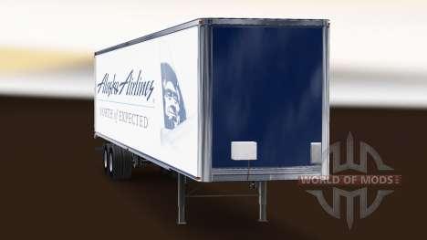 La piel de Alaska Airlines en el remolque para American Truck Simulator
