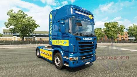La piel de La Poste para tractor Scania para Euro Truck Simulator 2