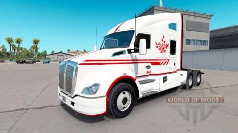 La piel Canadian Express Blanco tractor Kenworth para American Truck Simulator