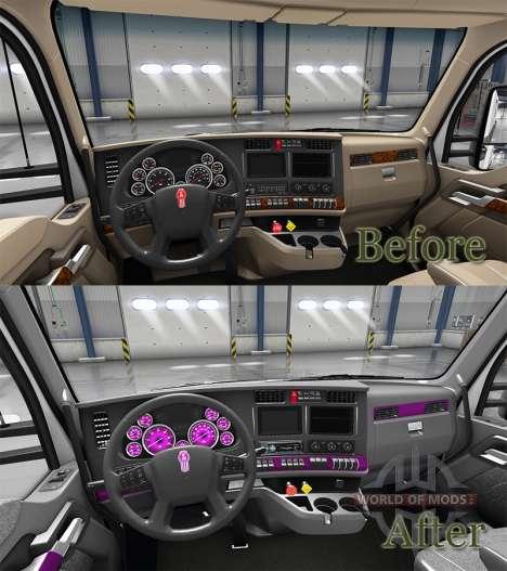 Interior de color Rosa Dial para Kenworth T680 para American Truck Simulator