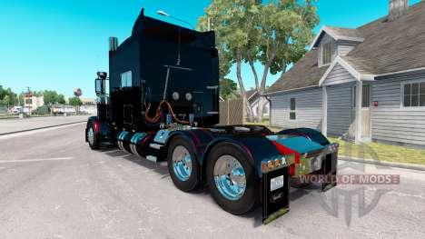 Скин Negro Metálico Rayas на Peterbilt 389 para American Truck Simulator
