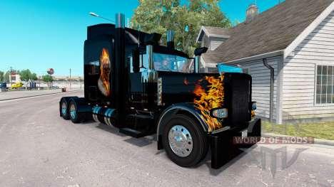 La piel Ghost Rider v2.0 tractor Peterbilt 389 para American Truck Simulator