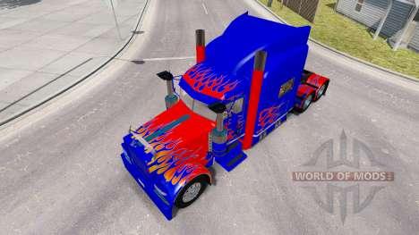 La piel Optimus Prime v2.0 tractor Peterbilt 389 para American Truck Simulator