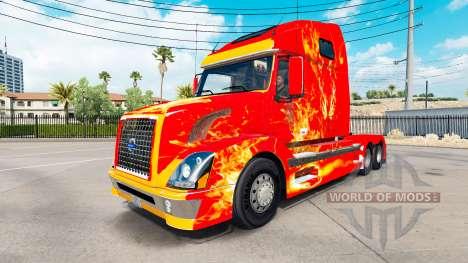 Fuego en la piel para camiones Volvo VNL 670 para American Truck Simulator