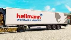 La piel Hellman en el semirremolque-el refrigera