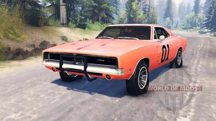 Dodge Charger 1969 General Lee para Spin Tires