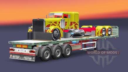 El semirremolque de plataforma de carga del camión Peterbilt para Euro Truck Simulator 2