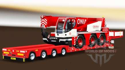 Baja de barrido con un camión de carga de la grúa Liebherr para Euro Truck Simulator 2