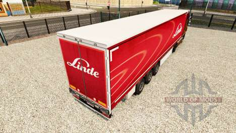 Linde de la piel en el trailer de la cortina para Euro Truck Simulator 2