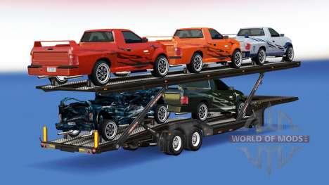 Camión de transporte de coches con los coches de FlatOut 2 para American Truck Simulator