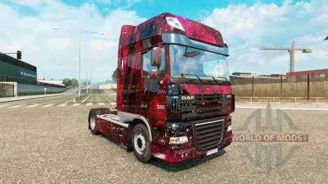 La piel Weltall en el tractor DAF para Euro Truck Simulator 2