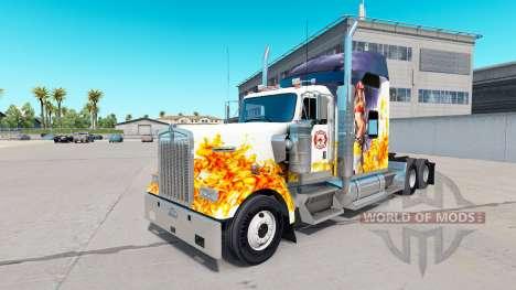 La piel de un Bombero en el camión Kenworth W900 para American Truck Simulator