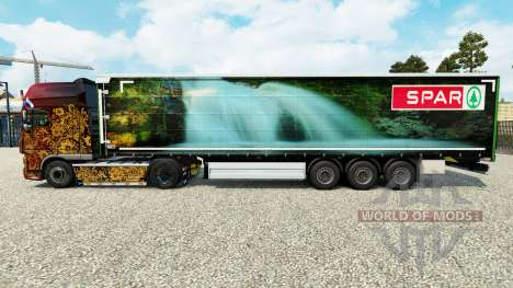 La piel Spar Natur Pur en una cortina semi-remol para Euro Truck Simulator 2