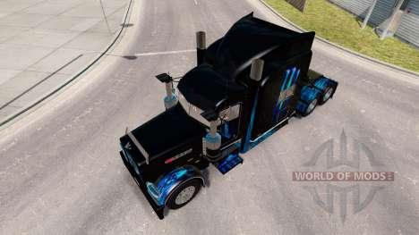 La piel del Monstruo de la Energía Azul para el camión Peterbilt 389 para American Truck Simulator