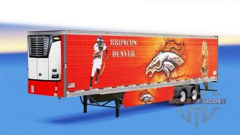 La piel de Denver Bronco en refrigerada semi-rem para American Truck Simulator