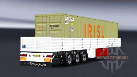 Plataforma semi remolque con carga de contenedor para American Truck Simulator