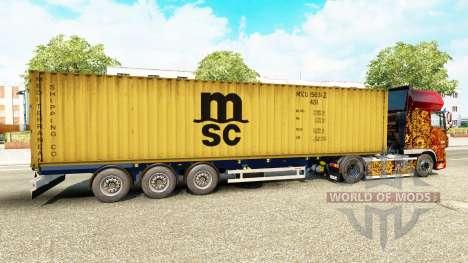 El semirremolque-el portacontenedores MSC Tripul para Euro Truck Simulator 2