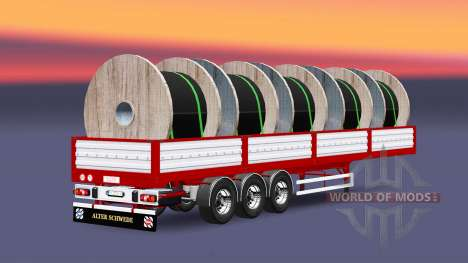 Plataforma semi remolque con cable de carga para Euro Truck Simulator 2