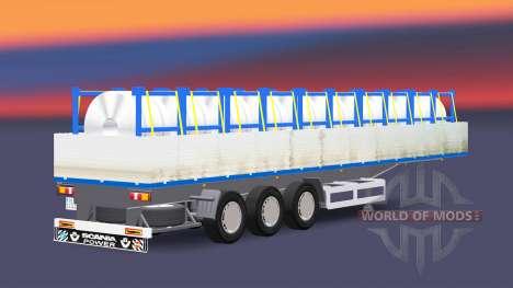 Plataforma semi remolque con una carga de bobina para Euro Truck Simulator 2