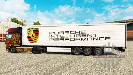 La piel de Porsche para remolques para Euro Truck Simulator 2