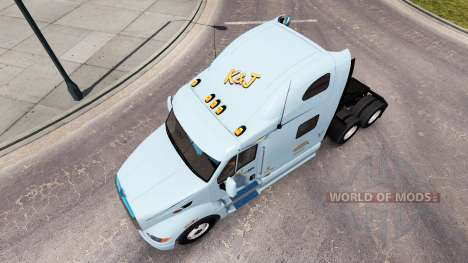 La piel de K&J en el tractor Peterbilt 387 para American Truck Simulator