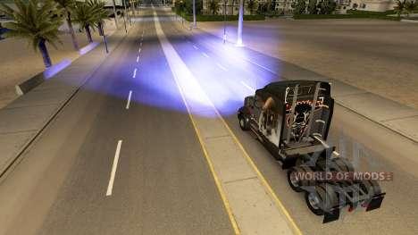 Azul, faros de xenón para American Truck Simulator