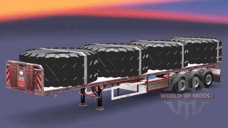 El semirremolque de plataforma con carga v3.2 para Euro Truck Simulator 2