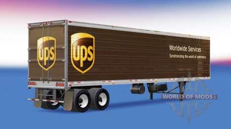 La piel de UPS en el remolque para American Truck Simulator