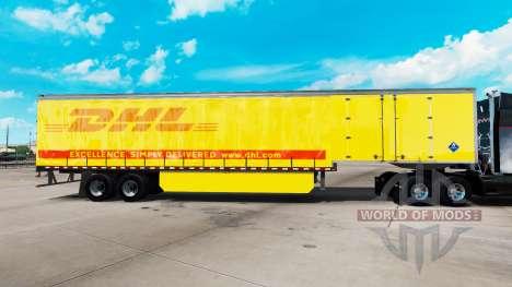 La piel de DHL para la cortina semi-remolque para American Truck Simulator