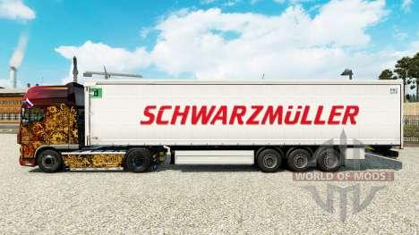 La piel Schwarzmuller semi-remolque en una corti para Euro Truck Simulator 2